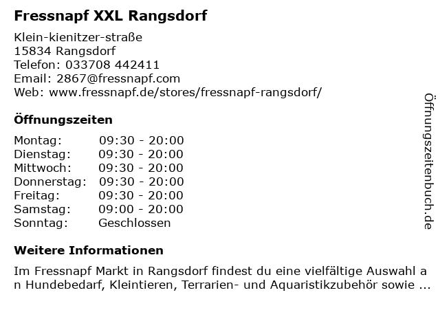 Fressnapf Rangsdorf in Rangsdorf: Adresse und Öffnungszeiten