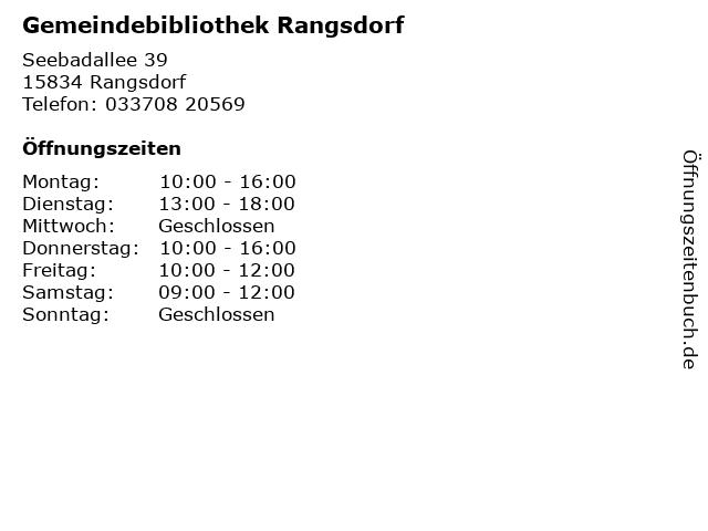 Gemeindebibliothek Rangsdorf in Rangsdorf: Adresse und Öffnungszeiten