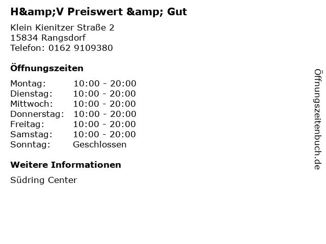 H&V Preiswert & Gut in Rangsdorf: Adresse und Öffnungszeiten