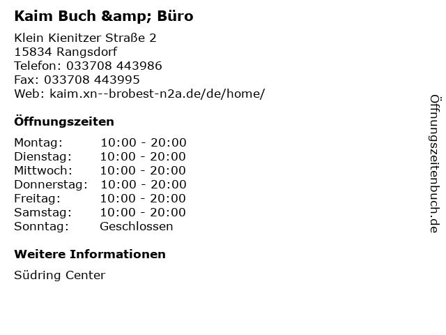 Kaim Buch & Büro in Rangsdorf: Adresse und Öffnungszeiten