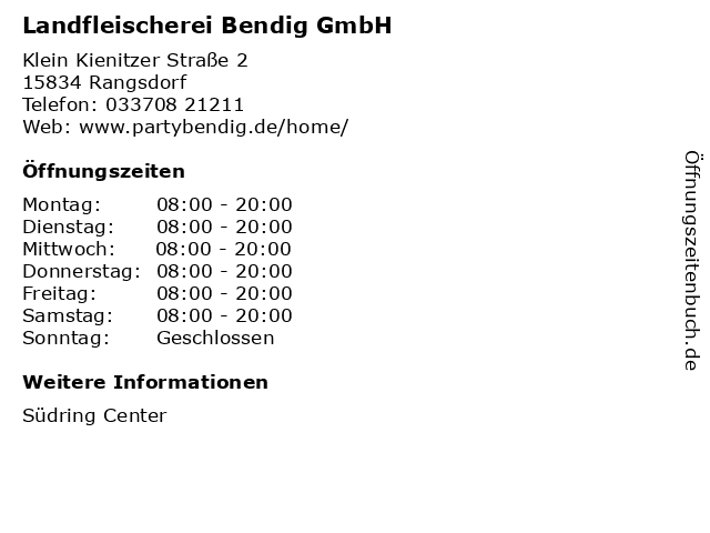 Landfleischerei Bendig GmbH in Rangsdorf: Adresse und Öffnungszeiten