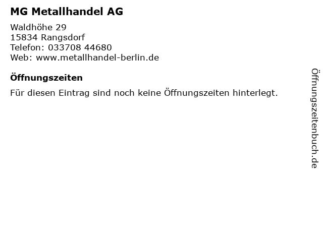 MG Metallhandel AG in Rangsdorf: Adresse und Öffnungszeiten