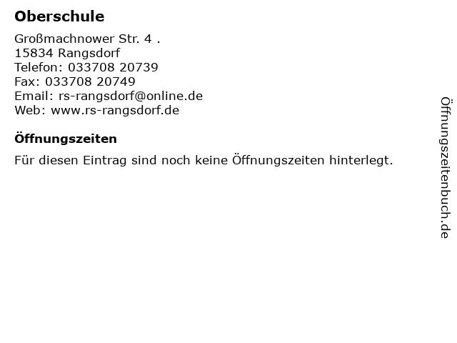 Oberschule in Rangsdorf: Adresse und Öffnungszeiten