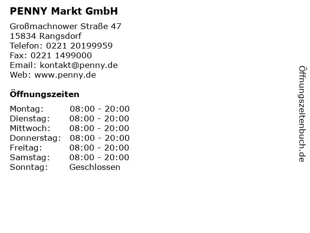 PENNY Markt GmbH in Rangsdorf: Adresse und Öffnungszeiten