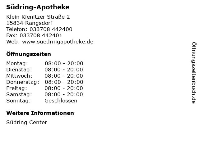 Südring-Apotheke in Rangsdorf: Adresse und Öffnungszeiten
