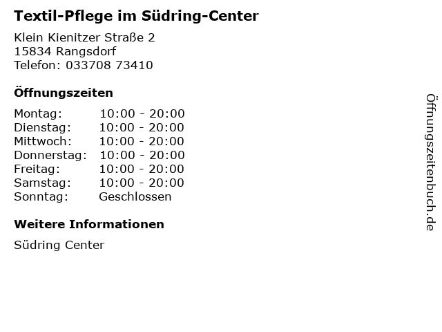 Textil-Pflege im Südring-Center in Rangsdorf: Adresse und Öffnungszeiten