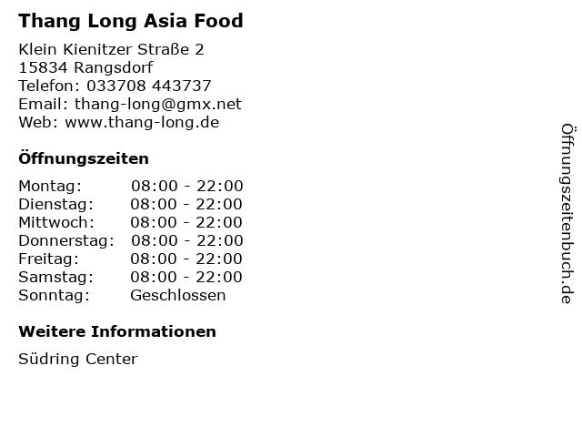 Thang Long Asia Food in Rangsdorf: Adresse und Öffnungszeiten