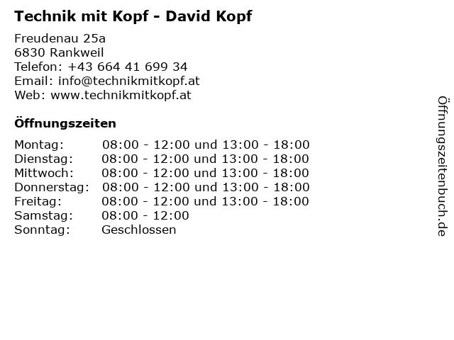 Technik mit Kopf - David Kopf in Rankweil: Adresse und Öffnungszeiten