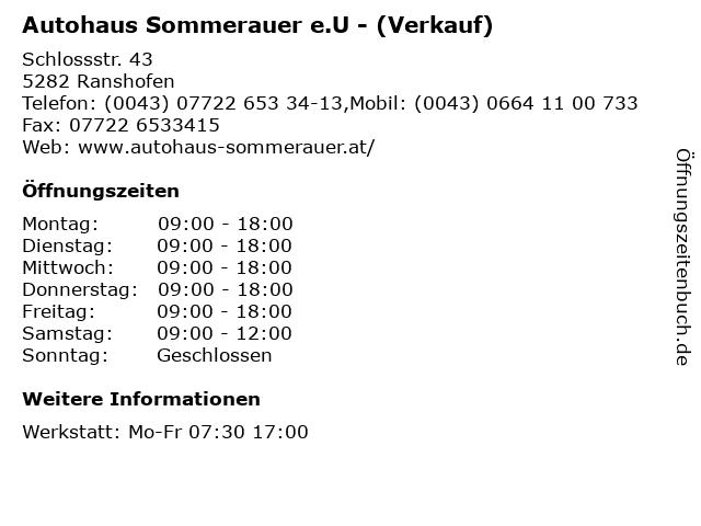 Autohaus Sommerauer e.U - (Verkauf) in Ranshofen: Adresse und Öffnungszeiten