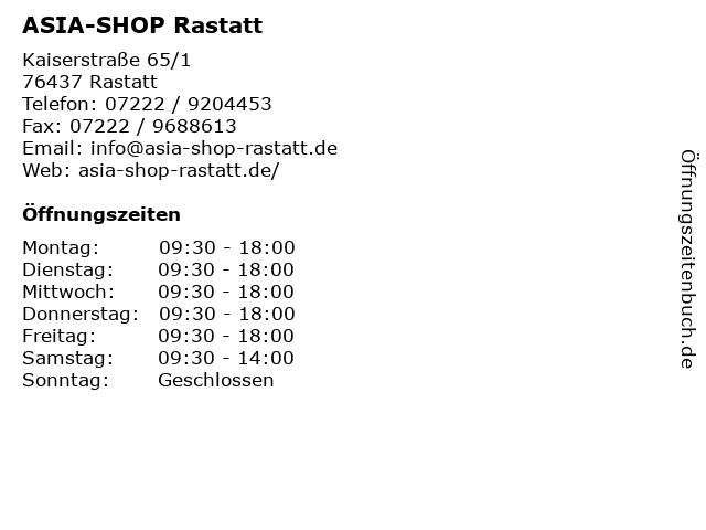 ASIA-SHOP Rastatt in Rastatt: Adresse und Öffnungszeiten