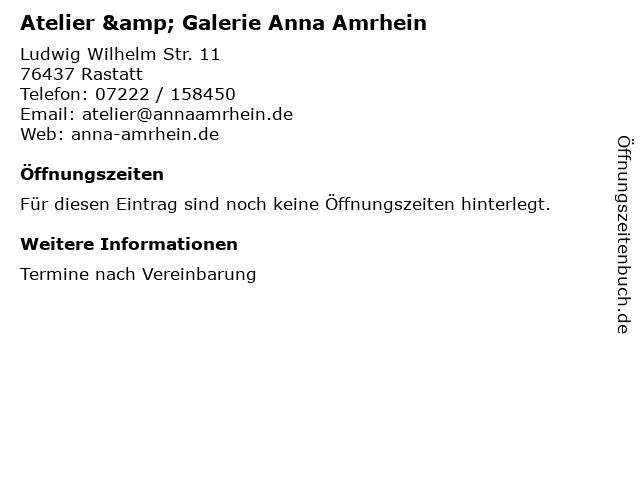 Atelier & Galerie Anna Amrhein in Rastatt: Adresse und Öffnungszeiten