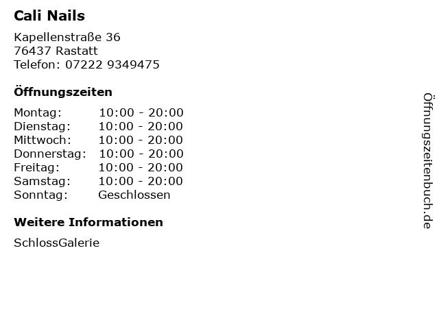 Cali Nails in Rastatt: Adresse und Öffnungszeiten
