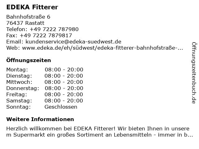 EDEKA Fitterer in Rastatt: Adresse und Öffnungszeiten
