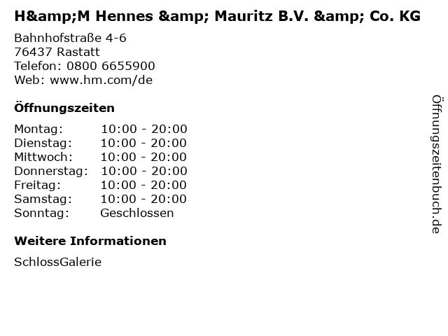 H&M Hennes & Mauritz B.V. & Co. KG in Rastatt: Adresse und Öffnungszeiten