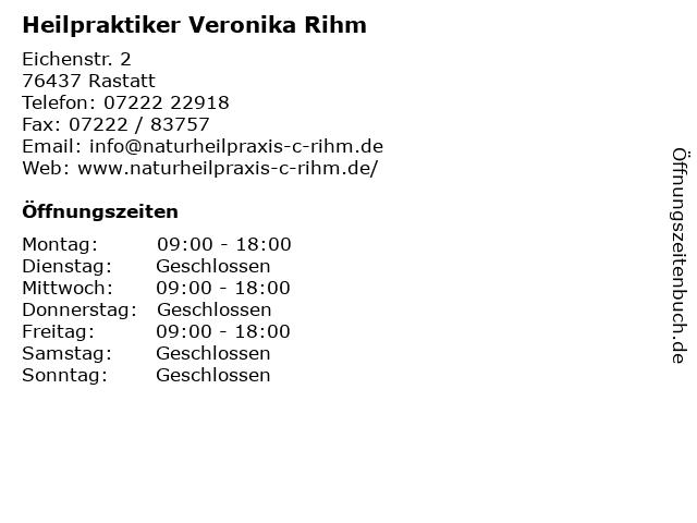 Heilpraktiker Veronika Rihm in Rastatt: Adresse und Öffnungszeiten