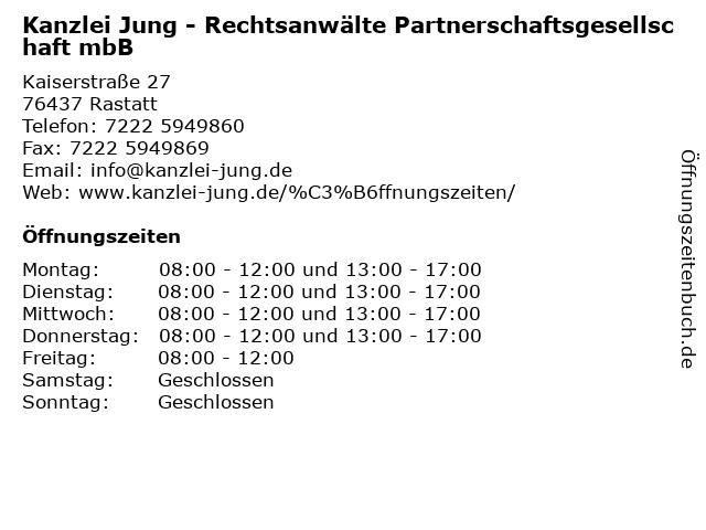 Kanzlei Jung - Rechtsanwälte Partnerschaftsgesellschaft mbB in Rastatt: Adresse und Öffnungszeiten