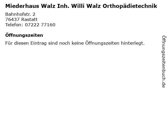 Miederhaus Walz Inh. Willi Walz Orthopädietechnik in Rastatt: Adresse und Öffnungszeiten