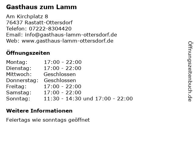 Gasthaus zum Lamm in Rastatt-Ottersdorf: Adresse und Öffnungszeiten