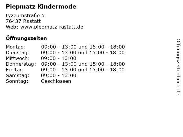 Piepmatz Kindermode in Rastatt: Adresse und Öffnungszeiten