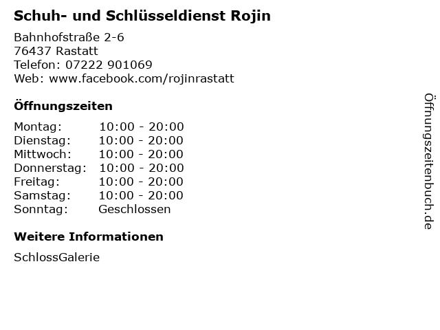 Schuh- und Schlüsseldienst Rojin in Rastatt: Adresse und Öffnungszeiten