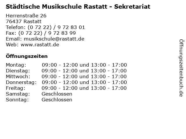 Städtische Musikschule Rastatt - Sekretariat in Rastatt: Adresse und Öffnungszeiten