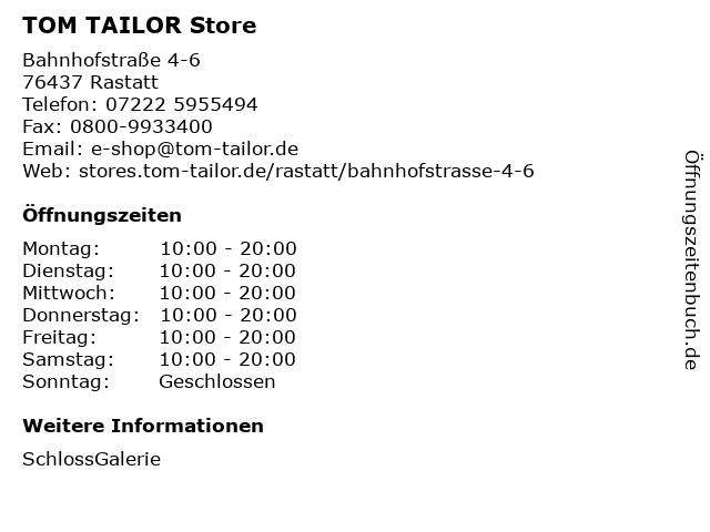 TOM TAILOR Store in Rastatt: Adresse und Öffnungszeiten