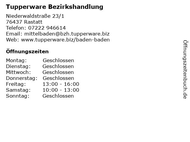 Tupperware Bezirkshandlung in Rastatt: Adresse und Öffnungszeiten