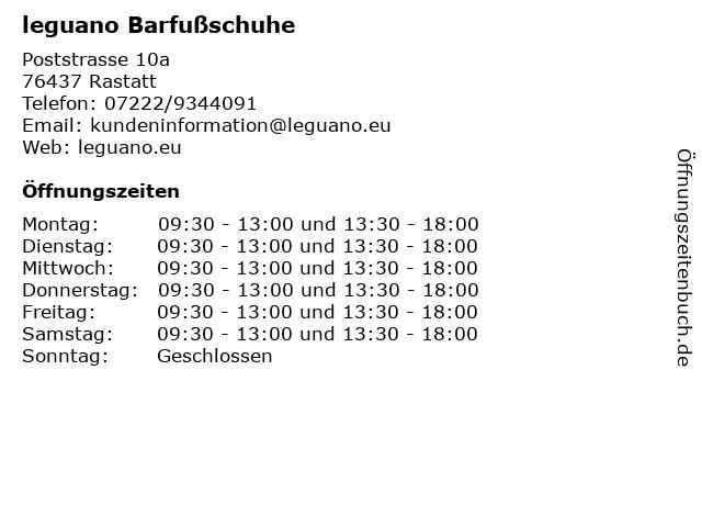 leguano Barfußschuhe in Rastatt: Adresse und Öffnungszeiten