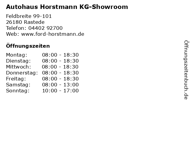 Autohaus Horstmann KG-Showroom in Rastede: Adresse und Öffnungszeiten