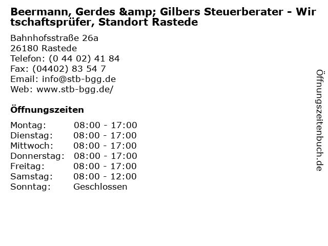 Beermann, Gerdes & Gilbers Steuerberater - Wirtschaftsprüfer, Standort Rastede in Rastede: Adresse und Öffnungszeiten