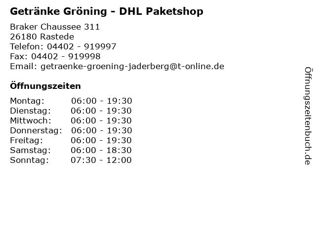 Getränke Gröning - DHL Paketshop in Rastede: Adresse und Öffnungszeiten