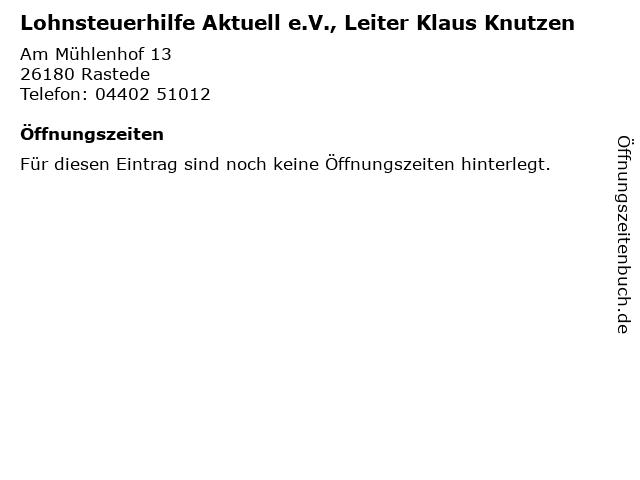 Lohnsteuerhilfe Aktuell e.V., Leiter Klaus Knutzen in Rastede: Adresse und Öffnungszeiten