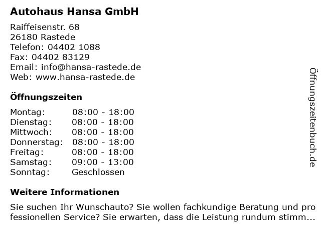 Opel Autohaus Hansa - Service in Rastede: Adresse und Öffnungszeiten