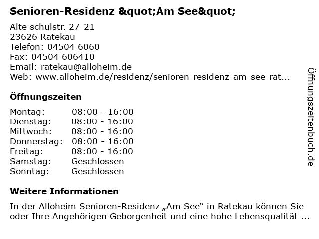 Senioren-Residenz Betriebs GmbH& Co. Seniorenresidenz am See in Ratekau: Adresse und Öffnungszeiten