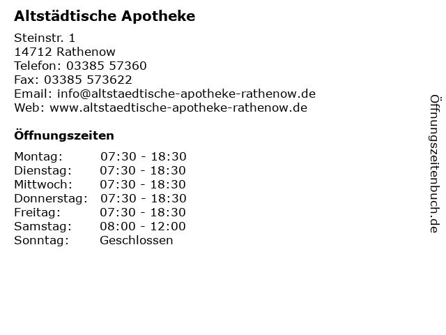 Altstädtische Apotheke in Rathenow: Adresse und Öffnungszeiten