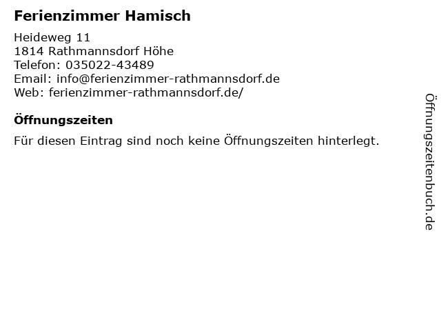 Ferienzimmer Hamisch in Rathmannsdorf Höhe: Adresse und Öffnungszeiten