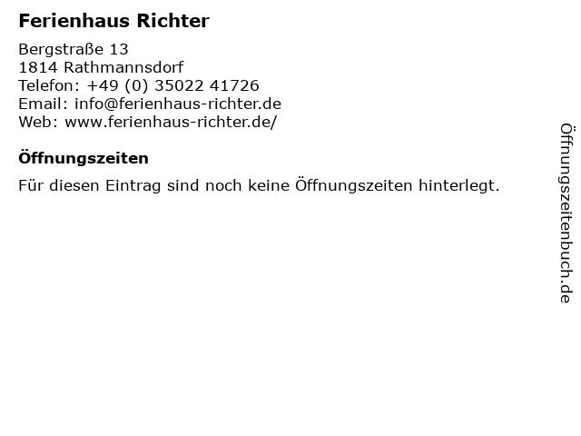 Ferienhaus Richter in Rathmannsdorf: Adresse und Öffnungszeiten