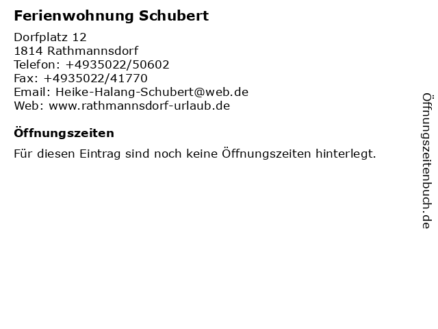 Ferienwohnung Schubert in Rathmannsdorf: Adresse und Öffnungszeiten