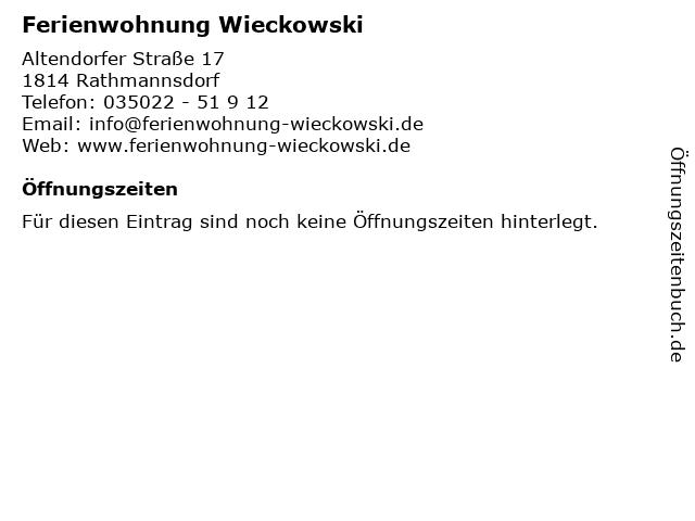 Ferienwohnung Wieckowski in Rathmannsdorf: Adresse und Öffnungszeiten