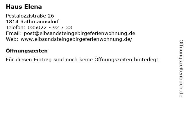 Haus Elena in Rathmannsdorf: Adresse und Öffnungszeiten