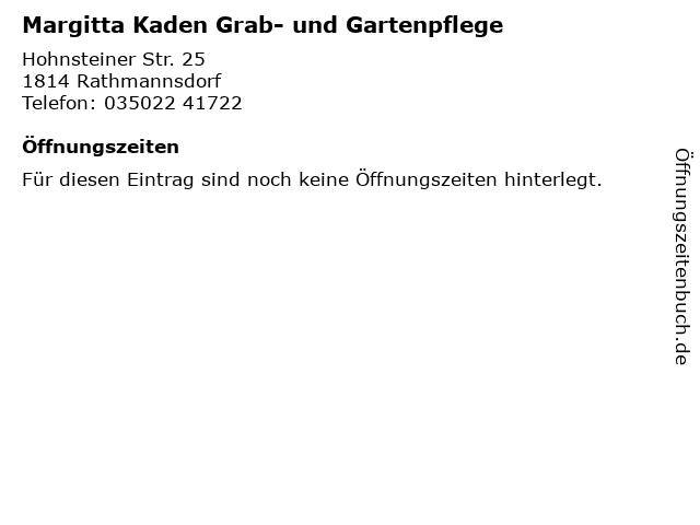 Margitta Kaden Grab- und Gartenpflege in Rathmannsdorf: Adresse und Öffnungszeiten
