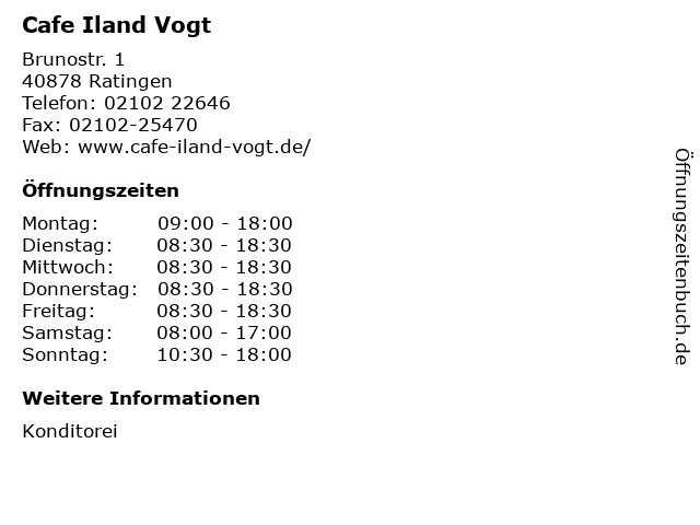 Cafe Iland Vogt in Ratingen: Adresse und Öffnungszeiten