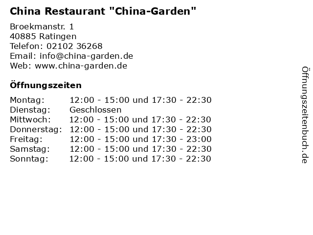 """China Restaurant """"China-Garden"""" in Ratingen: Adresse und Öffnungszeiten"""
