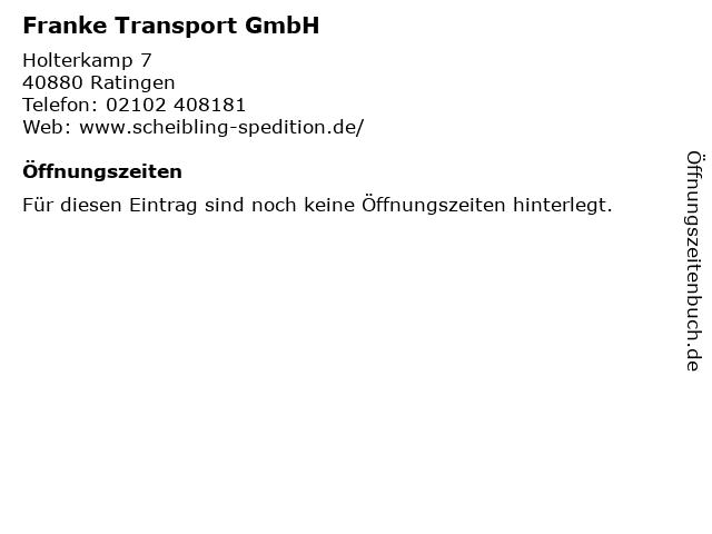 Franke Transport GmbH in Ratingen: Adresse und Öffnungszeiten