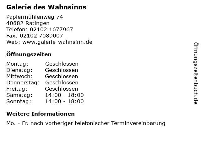 Galerie des Wahnsinns in Ratingen: Adresse und Öffnungszeiten