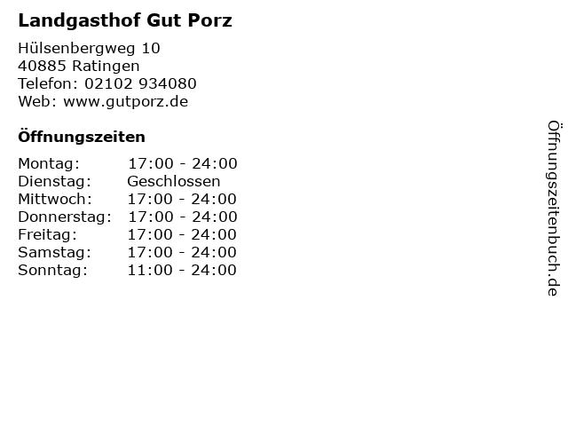 Landgasthof Gut Porz in Ratingen: Adresse und Öffnungszeiten