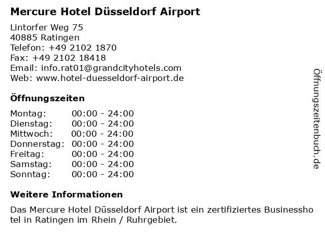 Mercure Hotel Düsseldorf Airport in Ratingen: Adresse und Öffnungszeiten