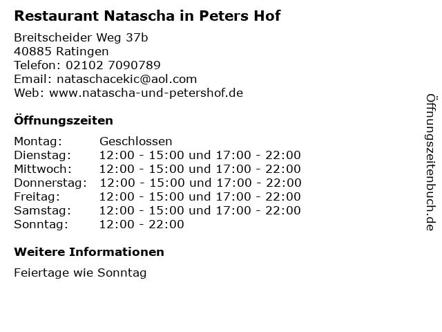 Restaurant Natascha in Peters Hof in Ratingen: Adresse und Öffnungszeiten