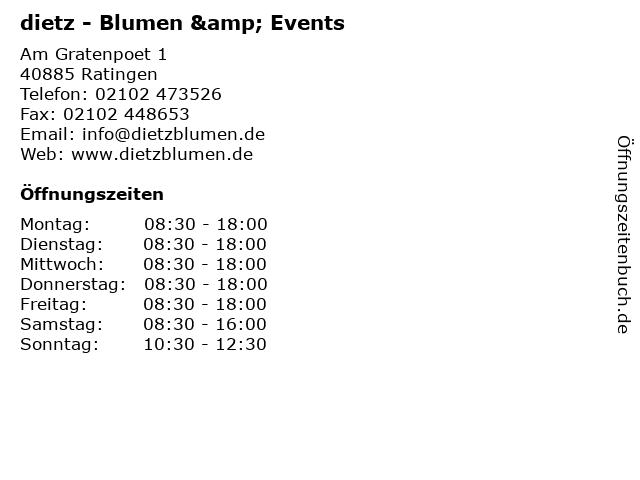 dietz - Blumen & Events in Ratingen: Adresse und Öffnungszeiten