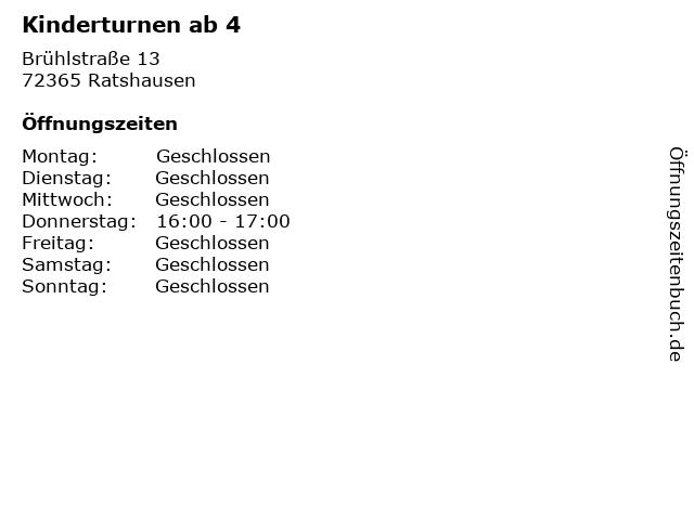 Kinderturnen ab 4 in Ratshausen: Adresse und Öffnungszeiten